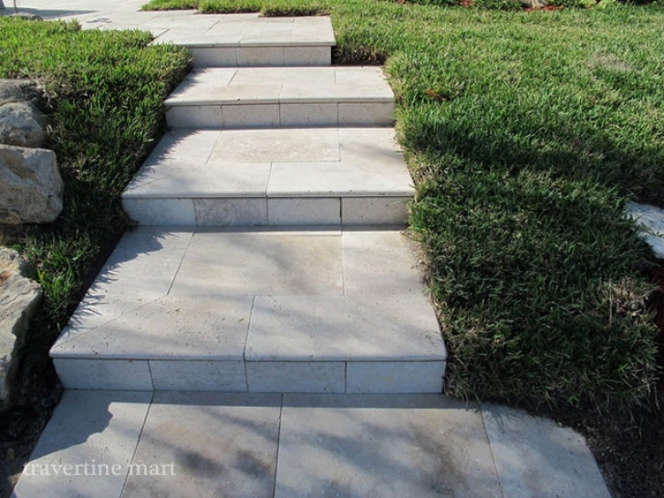 Cement Stairs And Ceramics Ivory Tumbled Travertine Pavers As Stairs - Modern - Pool Photo 398