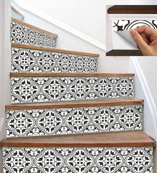 Decorative Stair Riser Covers 15Steps Stair Riser Vinyl Strips Removable Sticker Peel Picture 360