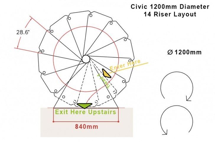 Dimesions Of A Standard Spiral Staircase Civik Zink 1200Mm Diameter Spiral Staircase Picture 900