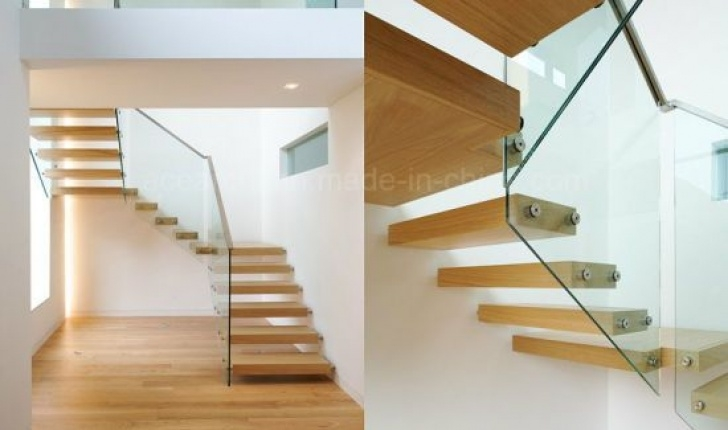 Floating Stair Tread Brackets Floating Staircase Design With Oak Wood Tread/Hidden Beam Picture 313