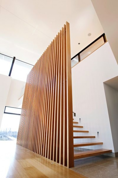 Floor To Ceiling Stair Rail Designs Balustrades - Vertical Timber Battens On Stainless Steel Picture 575