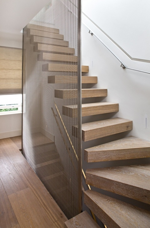 Floor To Ceiling Stair Rail Designs Bleached Oak Floating Staircase, Metal Railing & Chain Picture 134