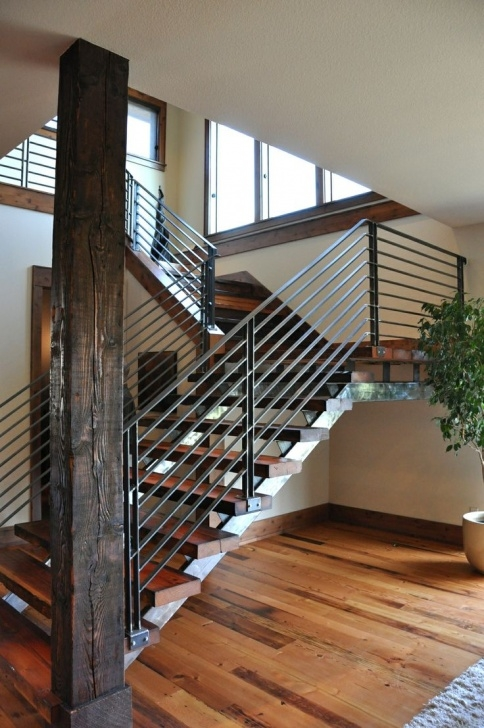 Floor To Ceiling Stair Rail Designs Decor: Winsome Contemporary Stair Railing With Brilliant Photo 830