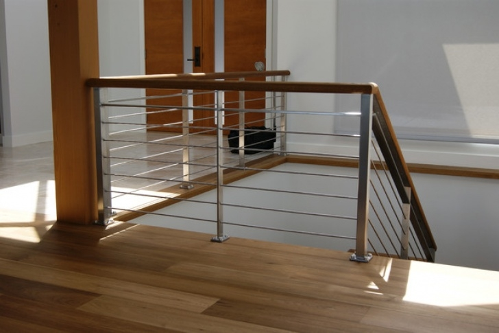 Internal Steel Staircase Oak & Stainless Steel Interior Railing - Contemporary Picture 419