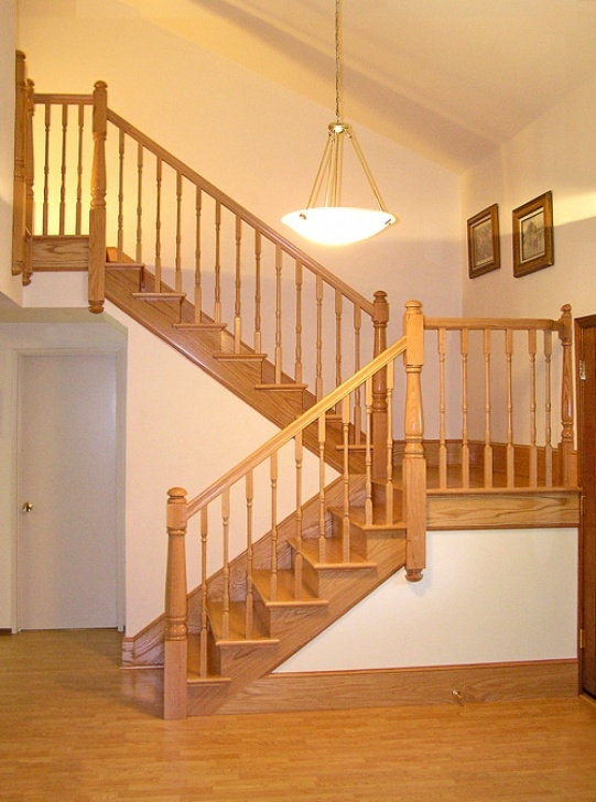 Oak Stair Spindles San Diego Railings And Stairs - Oak Post To Post Staircase Photo 160