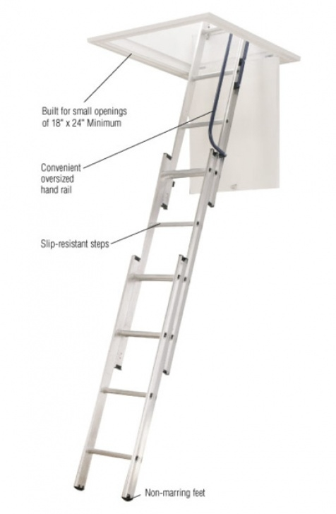 Pole Down Stairs Werner 7 Ft. - 9 Ft., 18 In. X 24 In. Compact Aluminum Image 028