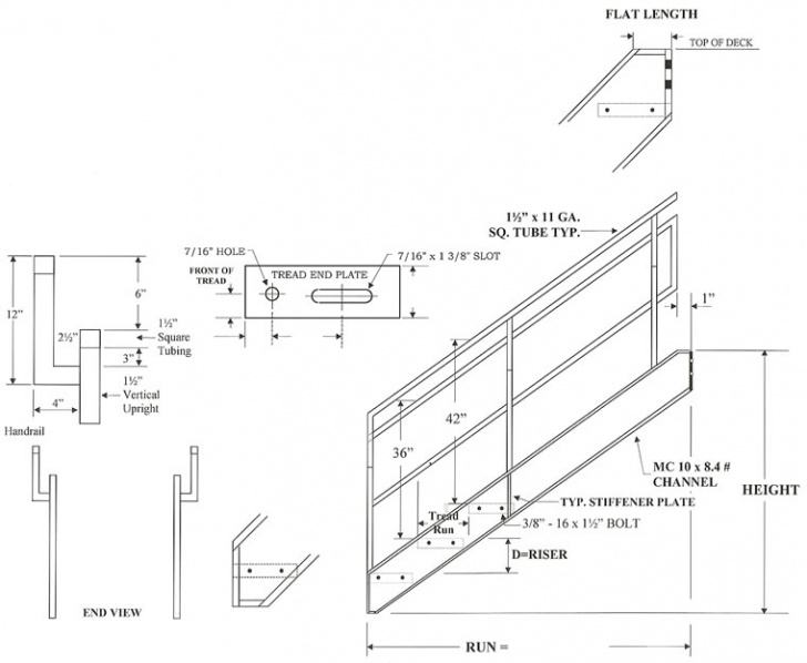 Steel Stairs Dimensions Osha Stairs With Outboard Guard, Galvanized Stairs Picture 478