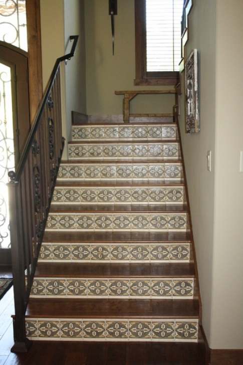 Tile Staircase Ideas Hickory Stairs With Mosaic Tile Risers - Traditional Image 235