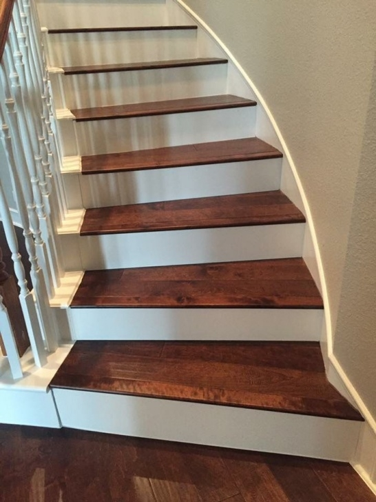 Wood And Tile On Stair Birch Color Coffee Installed On Staircase With White Picture 724